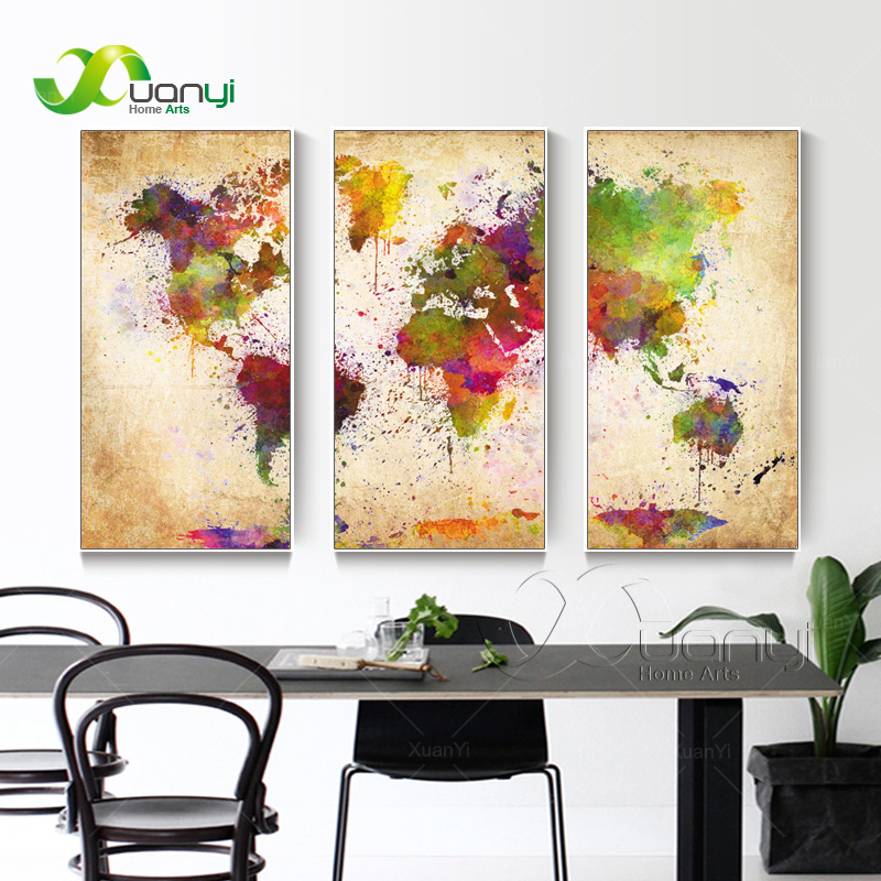 World map canvas painting wall modular picture for living - What type of paint for living room walls ...