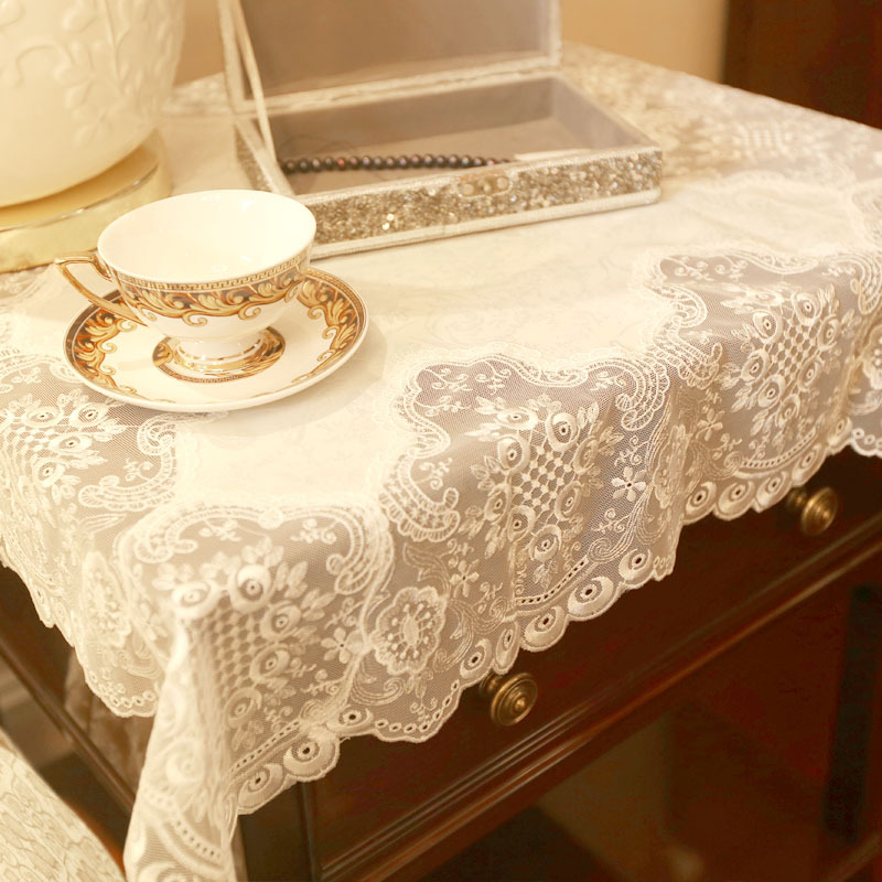 Thailand white satin embroidered tablecloth upscale luxury modern coffee table table cloth Coffee table tablecloth