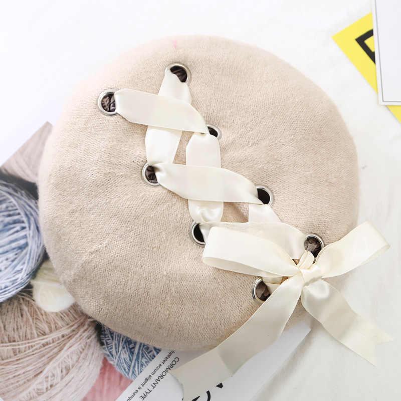 ... VISROVER New Sweet Cute Berets Women Winter Hats Soft Macaron color Ribbon  Woolen Lolita Beret classical 22a2c2fdfb7