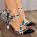 New Fashion Black White Plaid Ladies High Heels Lace up Checkered Pointed Toe Women Pumps Summer Gladiator Sandals Zapatos Mujer