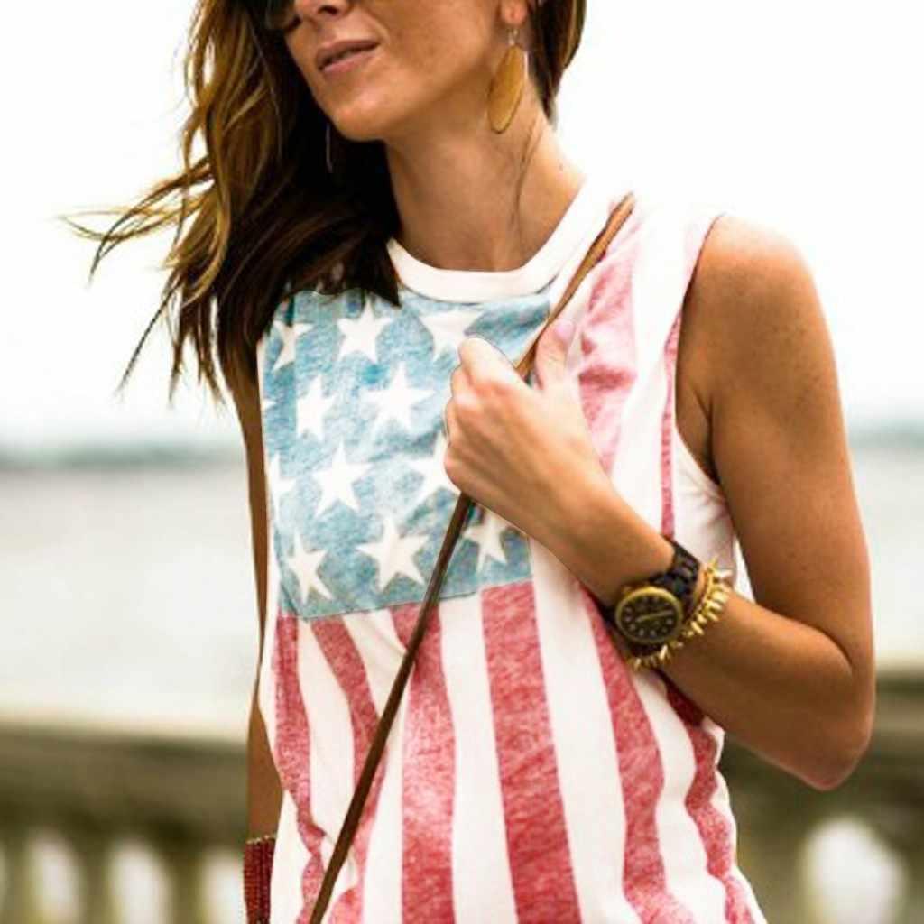 MUQGEW moda mujer sin mangas patriótico rayas estrella ropa de maternidad tanque vetement femme ete ropa embarazada # y3