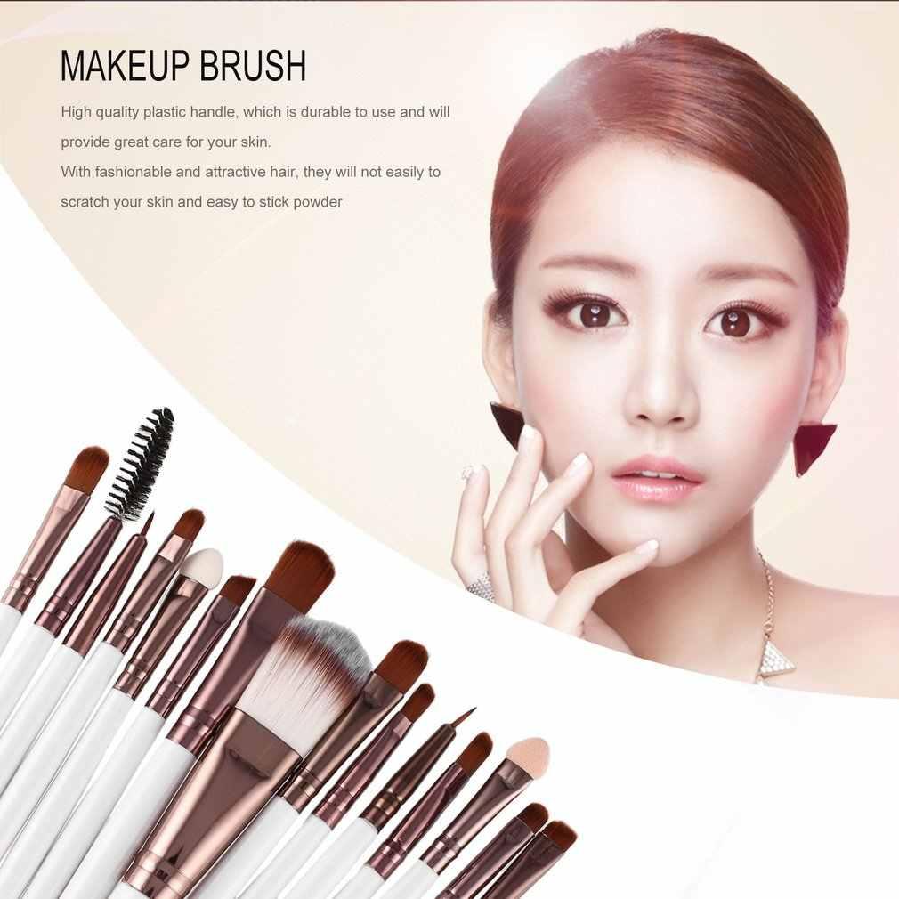 15Pcs PRO MAKEUP Brushes Set Bulu Mata Bibir Foundation Bubuk Eye Shadow Alis Eyeliner Brush Make Up Kosmetik Kecantikan alat Kit
