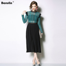 Banulin New 2019 Fashion Runway Spring Designer Dress Womens Long Sleeve Patchwork Lace Hollow Out Mid-Calf Pleated Dresses