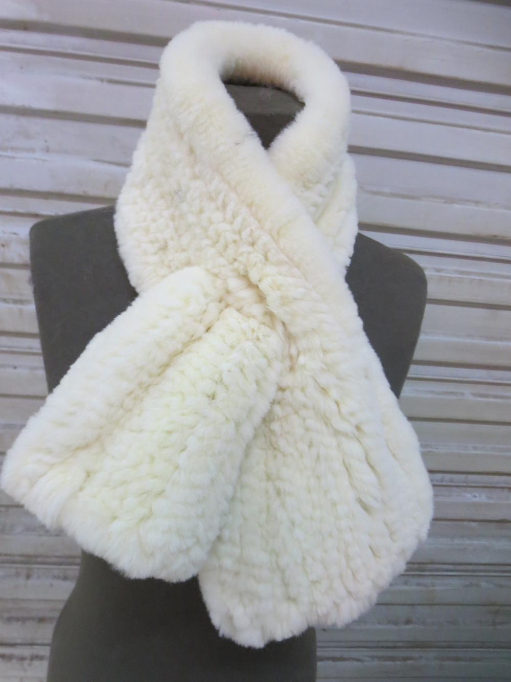 Women's Rex Rabbit Fur Knitted Handmade Fishtail Neckerchief /6 Colors/L'90 cm