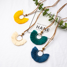 Boho Bohemian Ethnic Leather Rope Round Tassel Pendant Necklace Choker Sweater Chain for Women 2018 Clothing Jewelry Accessories