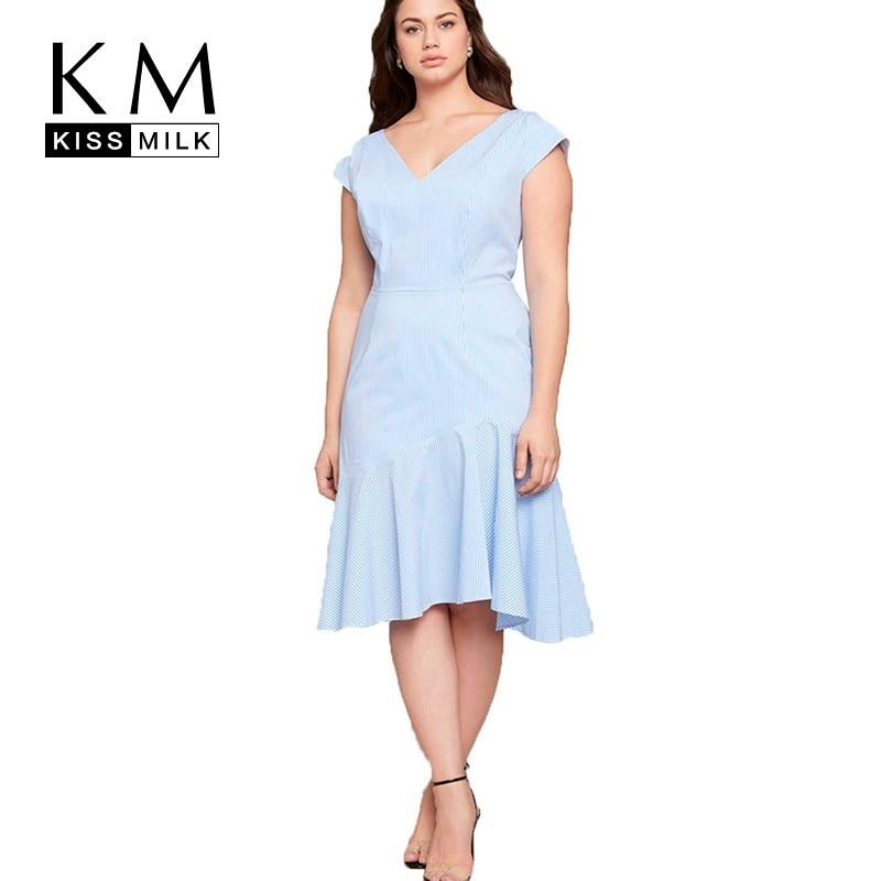 Женское платье Kissmilk, элегантное простое платье большого размера в европейском и американском стиле, 2020|Платья|   | АлиЭкспресс