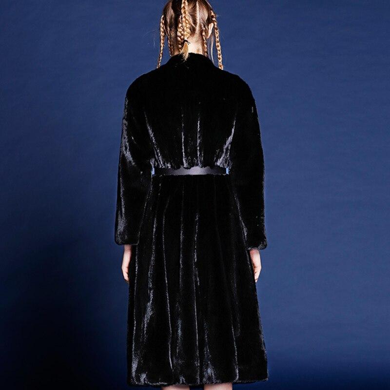 LVCHI Klasik hitam 2019 Musim Dingin Tebal Hangat Bulu Mantel Bulu - Pakaian Wanita - Foto 4