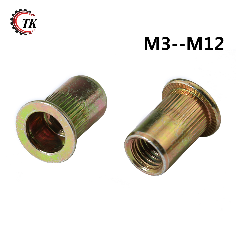 M6(10pcs) Handle Nut Professional Zinc Plated Carbon Steel Round Metric Knurled Flat Thumb Handle Nut Galvanized Carbon Steel Thin Type