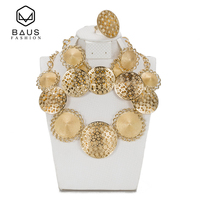 BAUS Fashion Exquisite Gold Color Nigerian Wedding African Beads Jewelry Set Saudi Jewelry Sets Bracelet Earring