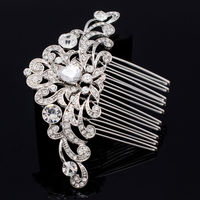 Hotsale Bride Hair Accessories Women Jewelry Flower Bridal Wedding Hair Comb Gold Silver Rose Gold Rhinestone