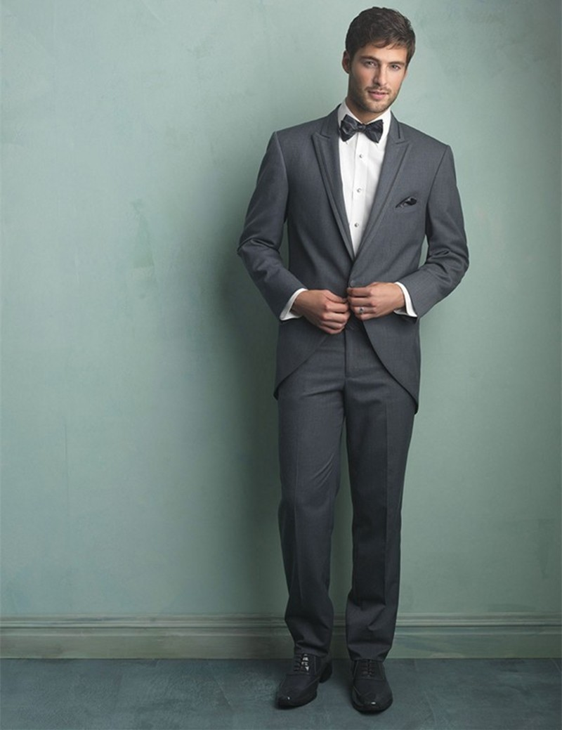 New Arrival One Button Grey Groom Tuxedos Groomsmen Mens Wedding ...