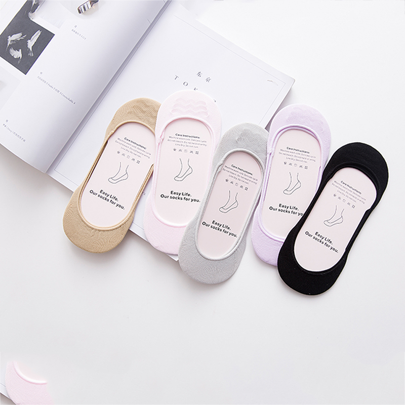 1Pair / Lot Fashion Women Socks Cotton Calcetines Summer Happy Socken Female Non-Slip Silica Gel Ankle Invisible Socks