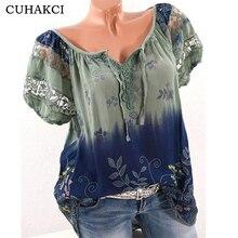 цена на CUHAKCI Women Summer T-shirt Elastic Basic T-shirts Female Short Sleeve T Shirt V-neck Printed Lace Casual Tops Big Size S-5XL