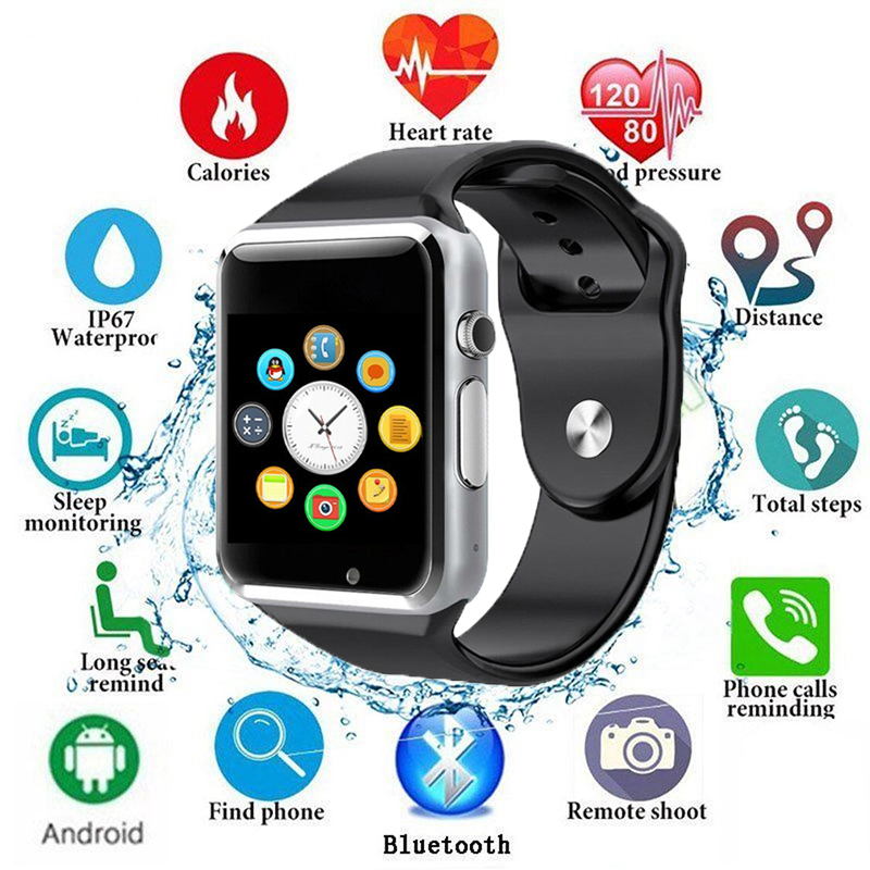 2019 <font><b>Bluetooth</b></font> <font><b>A1</b></font> <font><b>Smart</b></font> <font><b>Watch</b></font> <font><b>Sport</b></font> Waterproof Wristwatch Support 2G SIM TF Camera Smartwatch For Android Phone PK GT08 DZ09 Q18 image