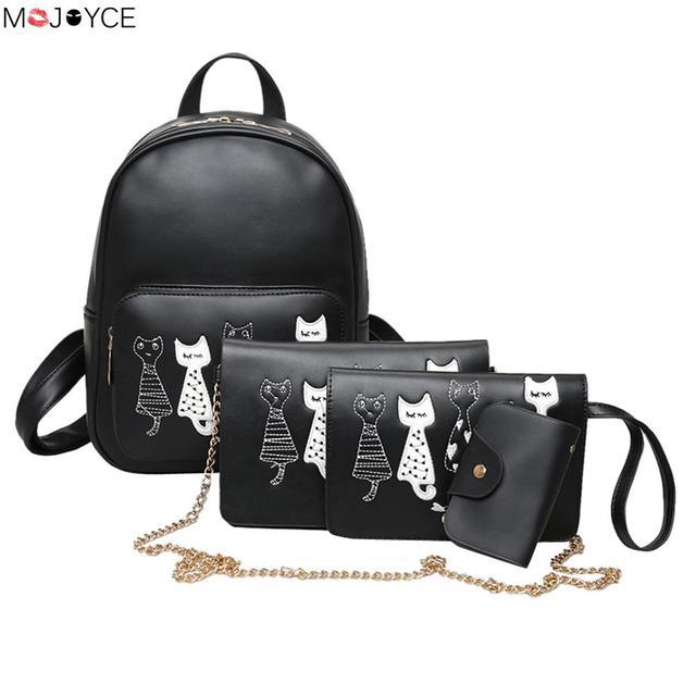 4pcs cute small cat printing backpack set for teenage girl black pu leather women female backpack
