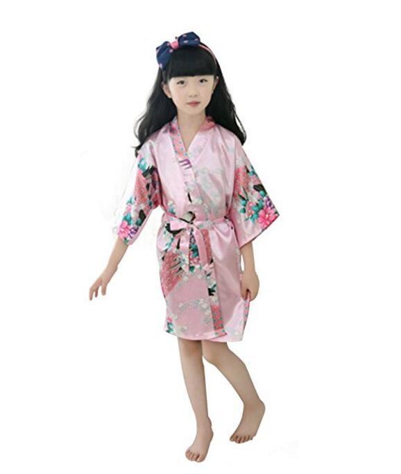 Kids Robe Satin Children summer Kimono Bath Robes Bridesmaid Flower Girl Dress Silk childrens bathrobe Nightgown Peacock robe