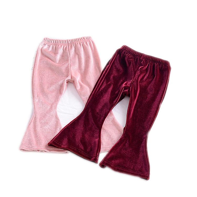 Long Trousers Cute Wide Leg Flare Pants Newborn Toddler Baby Girls Bell Bottom Stretch Pleuche Pants Children Baby Clothing Warm