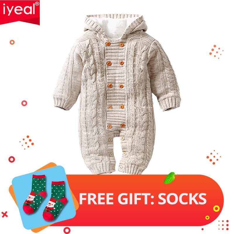 e0920746d05 IYEAL Thick Warm Infant Baby Rompers Winter Clothes Newborn Baby Boy Girl  Knitted Sweater Jumpsuit Hooded