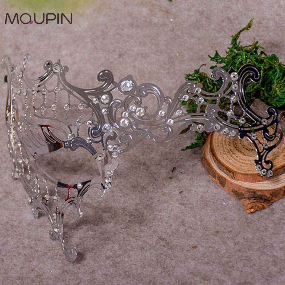 MQUPIN Gold And Silver Masquerade Ball Venice Cos Metal Eye Mask Pie Half Face Set Halloween Mask Sexy Extoic Accessories