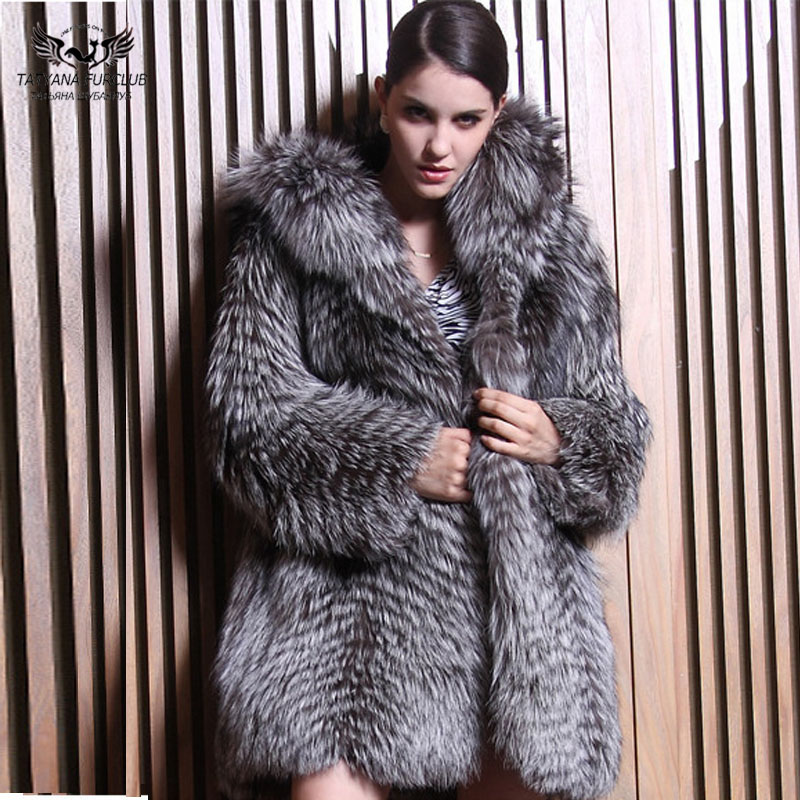 0c3599c12 2018 New Real fur Parka Long Real Fur Coat Fashion Women Natural Silver Fox  Fur Coats Female Fox Parkas Outwear Women Clothes