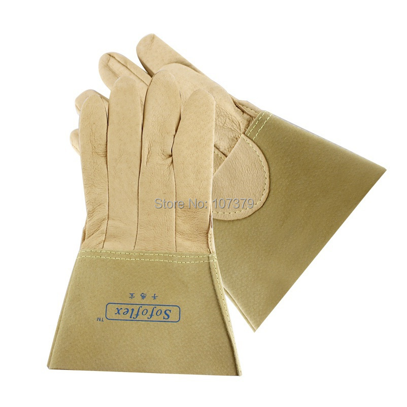 Pig leather work glove TIG MIG welder safety gloves soft leather welding glove leather combined safety glove deluxe leather work glove