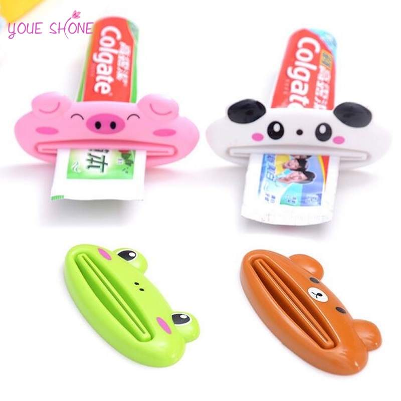 YOUE SHONE 1Pcs Brand New Cartoon Easy Squeezer <font><b>Toothpaste</b></font> Tube Dispenser Rolling Holder Cat/Frog/Panda/Pig Hot Sales