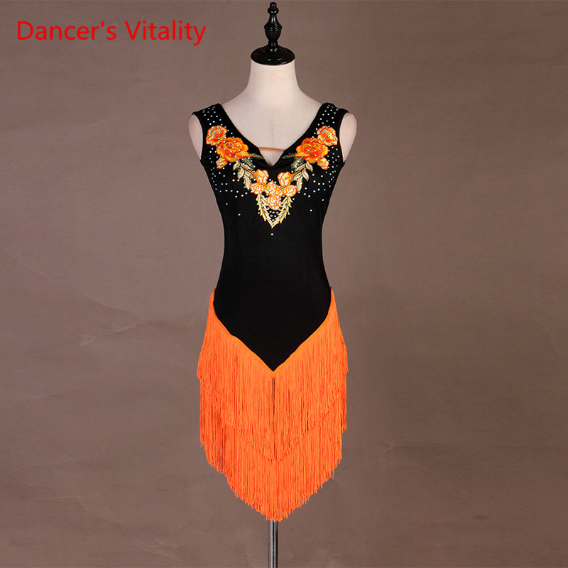 New Sexy Latin Dance Dress For Women Fashion Original Custom Made Backless Dress Lady Rumba Flamenco Competition Dance Costumes
