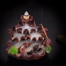 Creative Home Decor Backflow Incense Burner Creative Smoke Waterfall Fish Incense Holder Censer Use In Home Office Teahouse creative fly dragon incense burner bunker smoke waterfall incense burner incense cone sticks holder use in home office teahouse