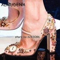 Розовый кожаный меха с цветами и стразами свадебная обувь кристалл коренастый женские туфли на высоком каблуке бисером металлические босо...