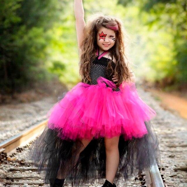 Rockstar reina Niñas vestido Navidad Halloween niña tul tutú funking ...