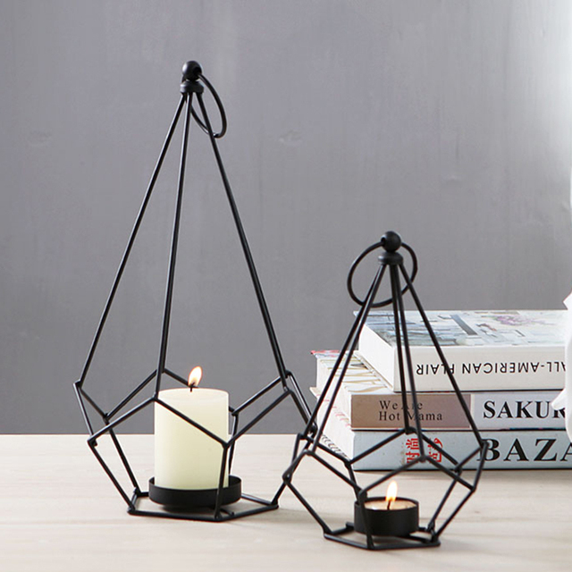 Iron Table Candlestick Creative Geometric Moroccan Lantern Candlestick Props Decoration Home Decorate