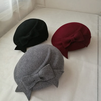 2017 New Big Bowler Fedora Hat For Women Autumn Ladies Wool Felt Pillbox Beret Cap Female Winter Female Wedding Fedora