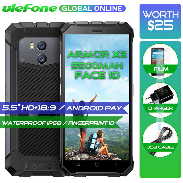 "Ulefone Armor X2 Waterproof IP68 Smartphone 5.5"" HD + 18:9 Quad Core Android 8.1 2GB+16GB 13MP NFC 5500mAh 3G Mobile Phone"