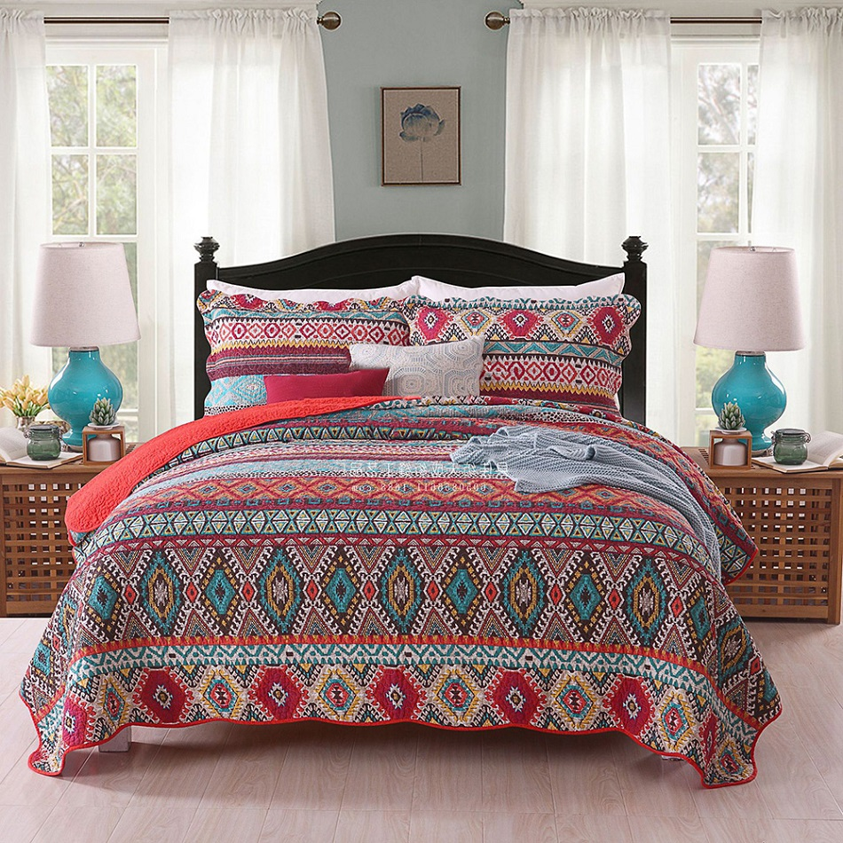CHAUSUB Cotton Bedspread Quilt Set 3pcs Coverlet American Printed Quilts quilted Bed Cover Sheets Pillowcase King Queen SizeCHAUSUB Cotton Bedspread Quilt Set 3pcs Coverlet American Printed Quilts quilted Bed Cover Sheets Pillowcase King Queen Size