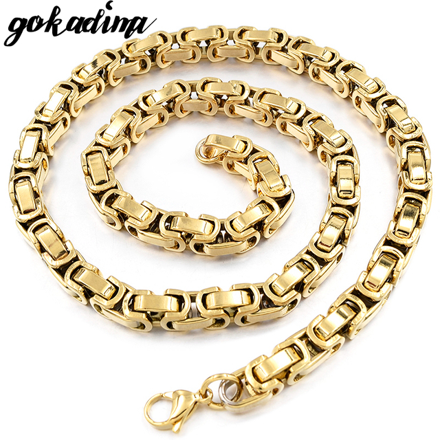 ' U ' box design,new men's s.steel byzantine link chain necklace gift for him fashion man jewelry gold-Color classical WN197