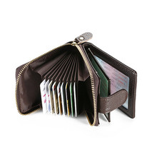 Rfid High Quality cow genuine leather Large Capacity men women credit card holder driving license coin protection bank wallet