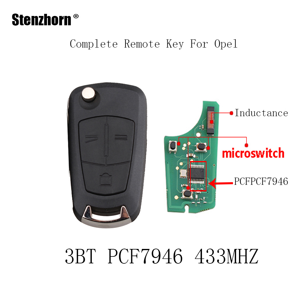 Stenzhorn 2/3 Buttons Remote Key For Vauxhall Opel Vectra C Astra H Zafira B 2005 2006 2007 2008 2009 2010 433Mhz PCF7946 Chip big discount 1 piece 4 1 button remote key card with 433mhz for land rover freelander 2 2006 2007 2008 2009 2010