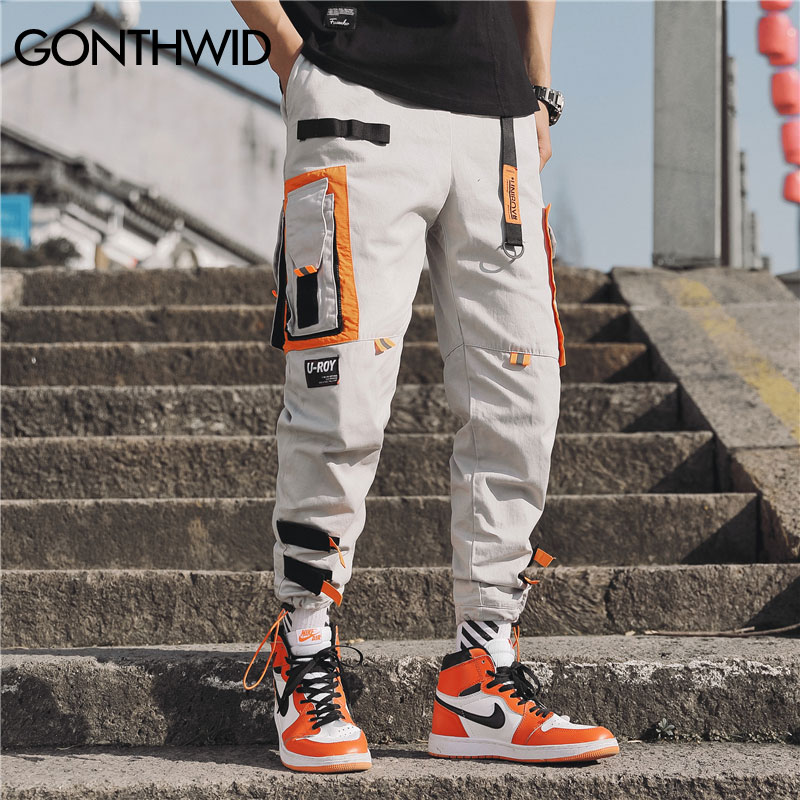 Image 2 - GONTHWID Multi Pockets Cargo Harem Jogger Pants Men Hip Hop Fashion Casual Track Trousers Streetwear Harajuku Hipster Sweatpants-in Harem Pants from Men's Clothing