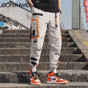 Image 2 - GONTHWID Çok Cepler Kargo Harem koşucu pantolonu Erkekler Hip Hop Moda Rahat Parça Pantolon Streetwear Harajuku Hipster Eşofman Altı