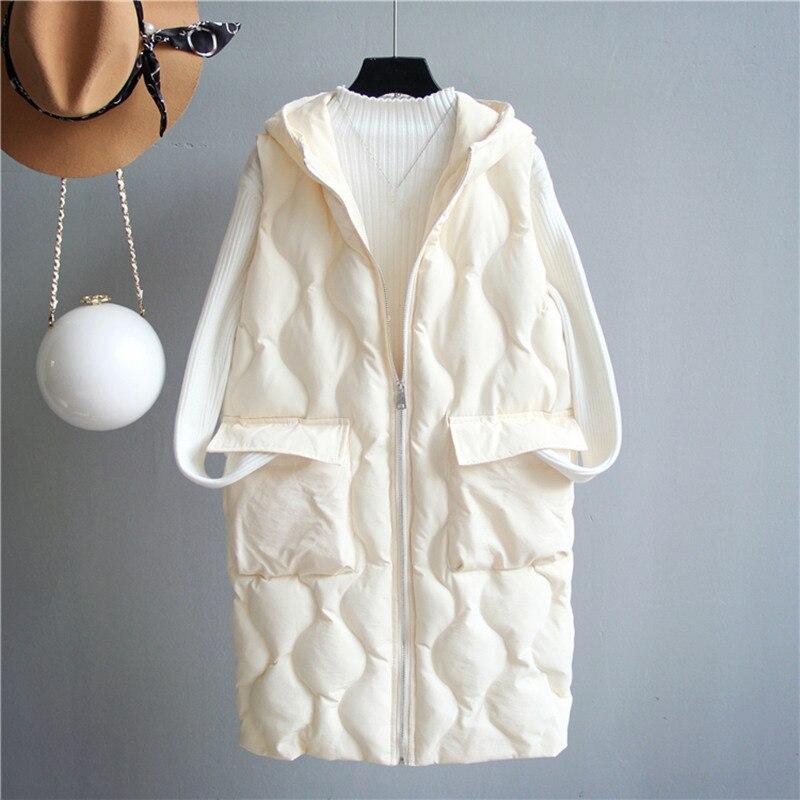 Hooded Loose Long Vest Coat Women Chaleco Mujer White Black Thicken Winter Jacket Women Waistcoat Warm