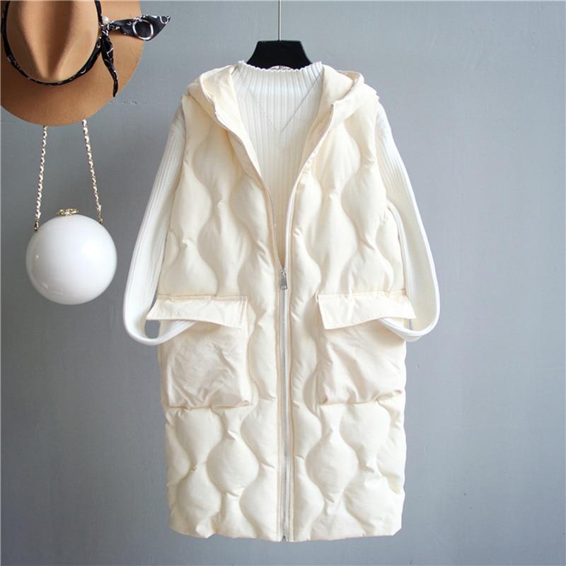 Hooded Loose Long Vest Coat Women Chaleco Mujer White Black Thicken Winter Jacket Women Waistcoat Warm Cotton Vest Women C4697
