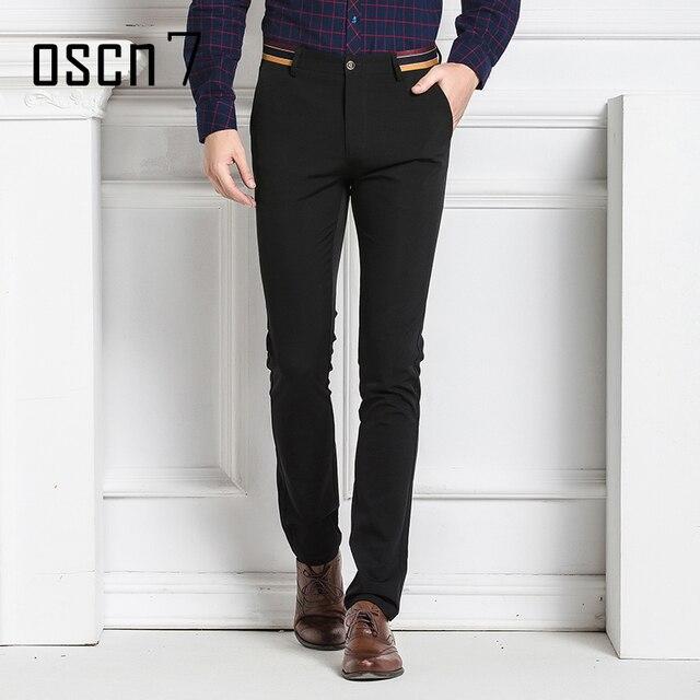 Oscn7 Solid Stretch Mens Dress Pants Slim Fit Office Men Pantalon Homme Clique Plus Size