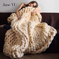 JaneYU Nordic Coarse Wool Hand Knitted Sofa Blanket Thick Thread Throw Foot Coverlet Blanket