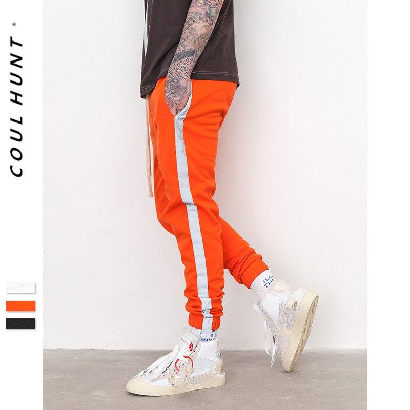 2019 SS Summer Striped Reflective Men Track Pants Hight Street Orange Black Long Sweatpants Side Contrast Color Casual Joggers