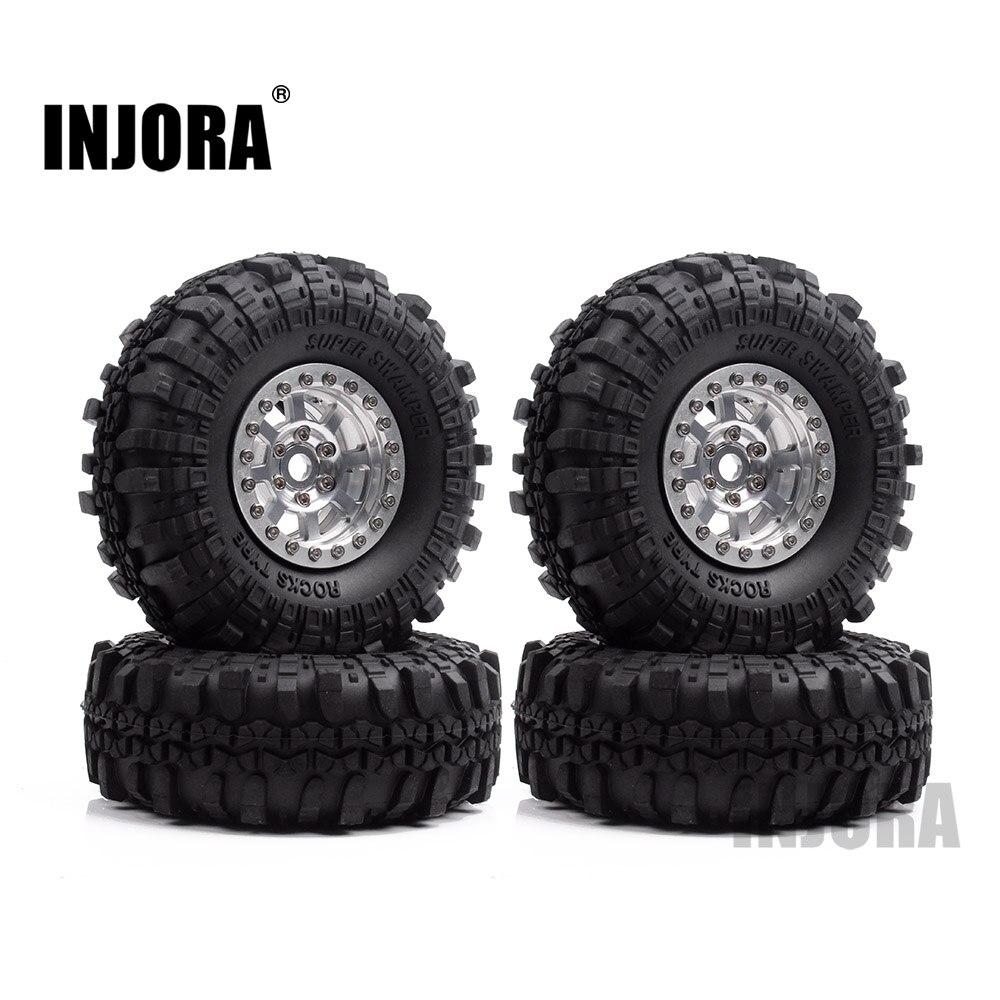 INJORA 4 piezas 1,9 pulgadas rueda de goma de neumáticos y de Metal Beadlock rueda de borde de RC Crawler Axial SCX10 90046 90047 Tamiya CC01