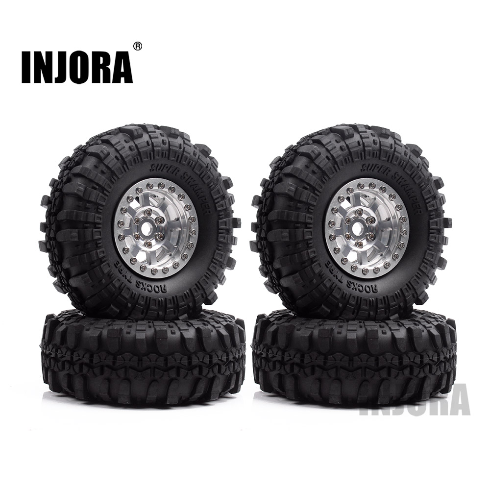INJORA 4Pcs 1.9 Inch Rubber Wheel Tires & Metal Beadlock Wheel Rim Set for RC Crawler Axial SCX10 90046 90047 Tamiya CC01 2 2 plating beadlock wheel