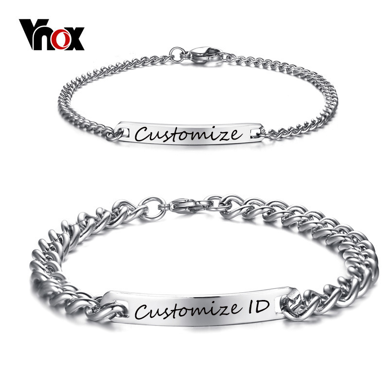 Vnox Free Engraving Customized Couple Promise Bracelet Stainless Steel Charm ID Bracelets for Women Men Pulseira Jewelry vnox free engraving unisex stainless steel medical alert id stretch bracelet for men and women jewelry