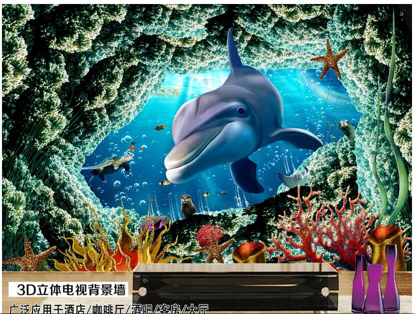 3d wallpaper custom photo non-woven mural picture wall sticker  sea world dolphins cave   painting 3d room murals wallpaper custom photo 3d wallpaper non woven mural wall sticker the big tree on the grass painting picture 3d wall room murals wallpaper