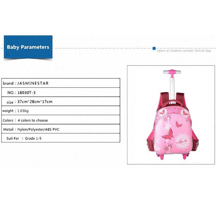 JASMINESTAR 3 pièces sac à roulettes pour fille Grade 1-3-6 papillon sac Trolley + porte-crayon + sac à bandoulière enfants sac à dos cartables - 2