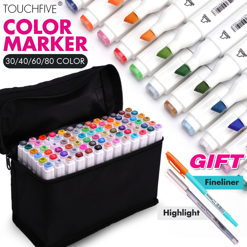 TouchFIVE 30/40/60/80Color Dual Head Art Marker Set Alcohol Based Dual Tip Sketch Marker Pens for Artist Drawing Art Suuplier touchnew 60 colors artist dual head sketch markers for manga marker school drawing marker pen design supplies 5type